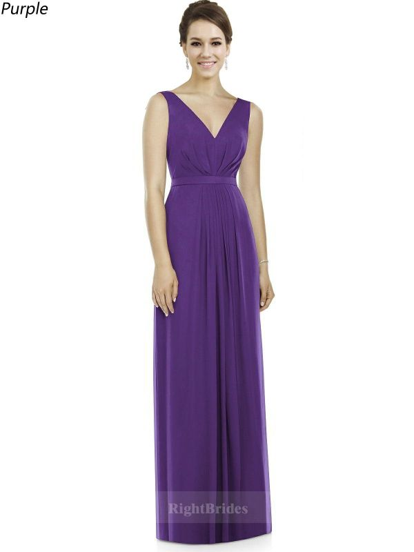 Summer 2018 Trends Long Chiffon V-Neck Purple Sleeveless Bridesmaid ...