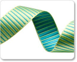 Lime and Turquoise Striped Satin Ribbon