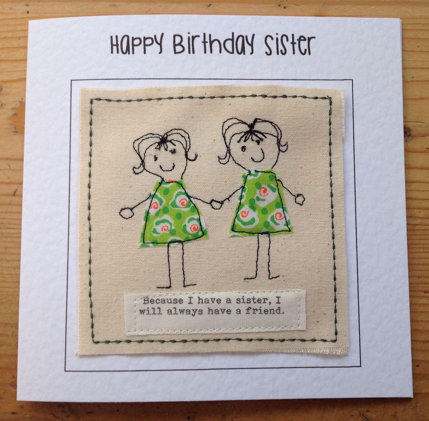 sister birthday individually created with stitches and