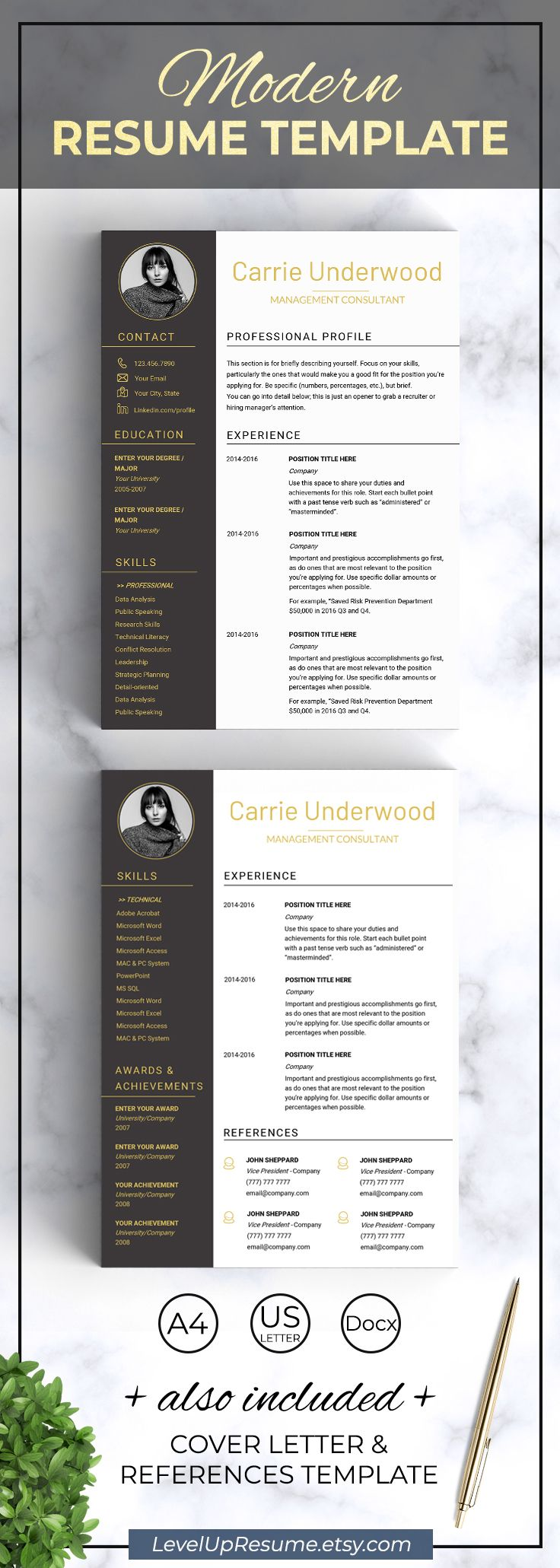 Resume Template Modern Resume With Photo Design Resume Templates Cv