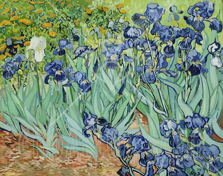 "A Flower Bed Of Iris Flowers by Van Gogh. I was very moved by this piece when I first saw it. I actually ""sympathized"" with it."
