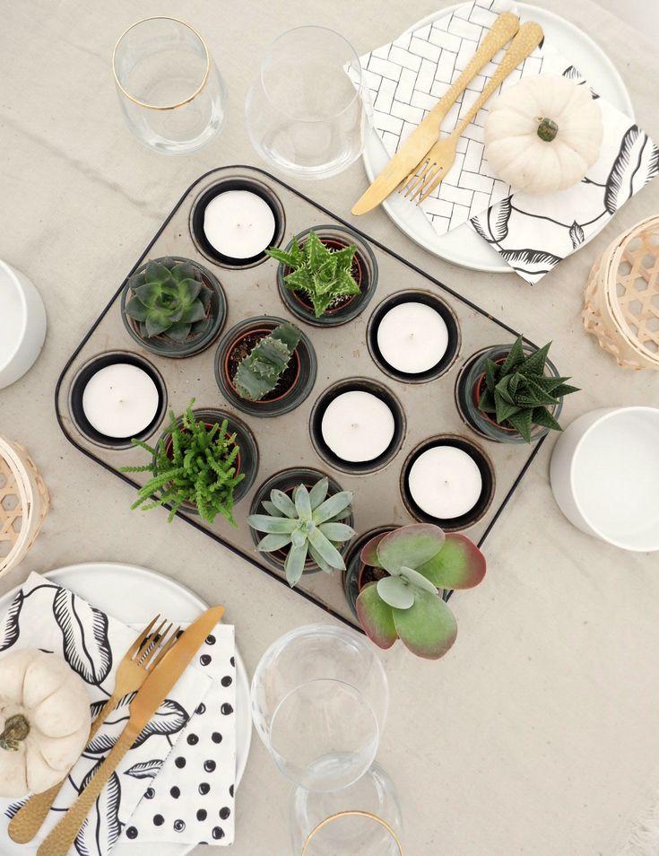 Tischdeko mit Muffinform und Mini Sukkulenten #herbstlichetischdeko