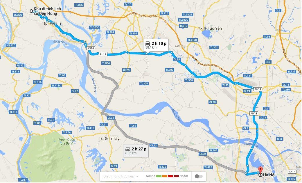 Đường từ Hà Nội đi đền Hùng 2016