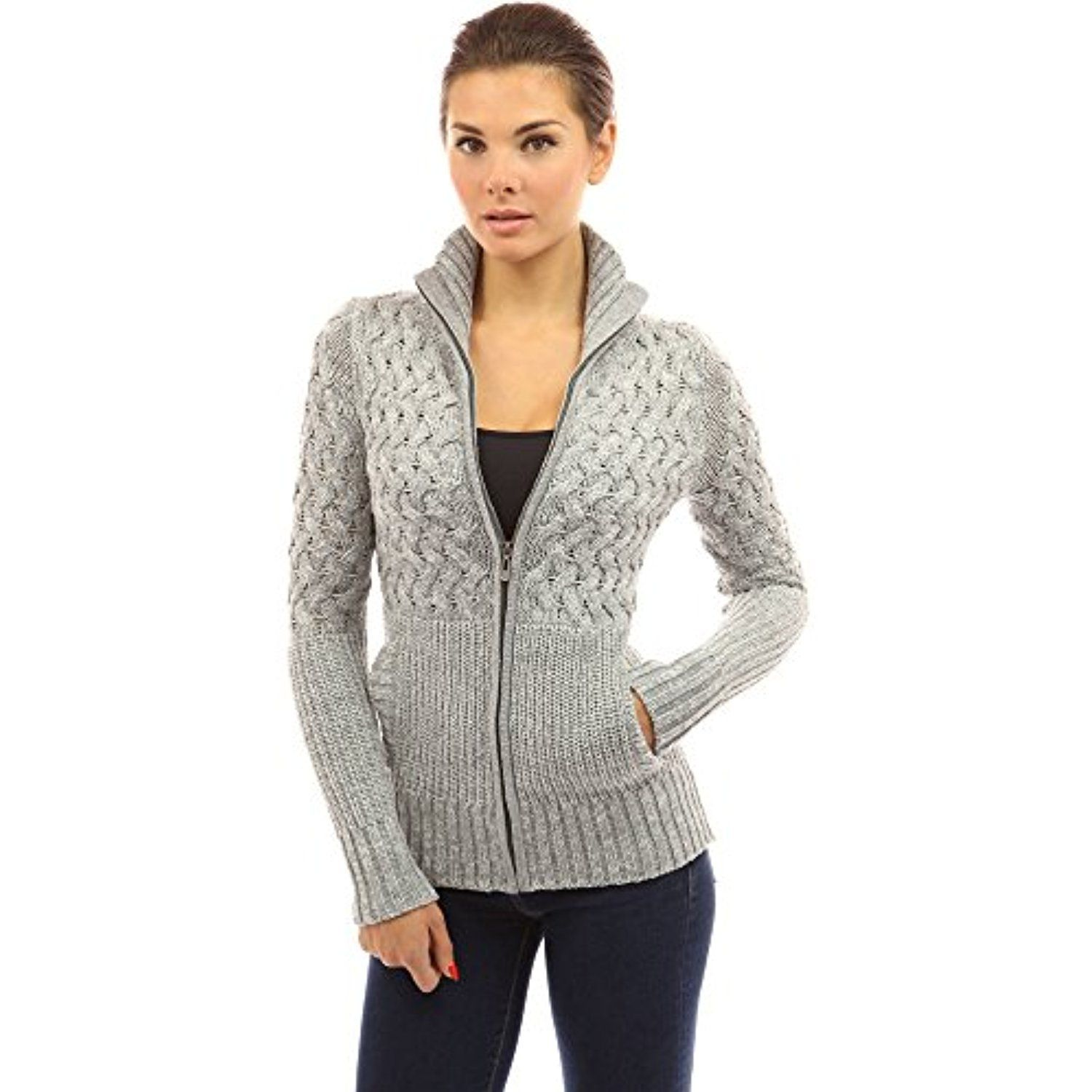 Women s Mock Neck Marled Zip Up Cardigan -- Click on the image for  additional details. (This is an affiliate link)  Sweaters 965d2de27