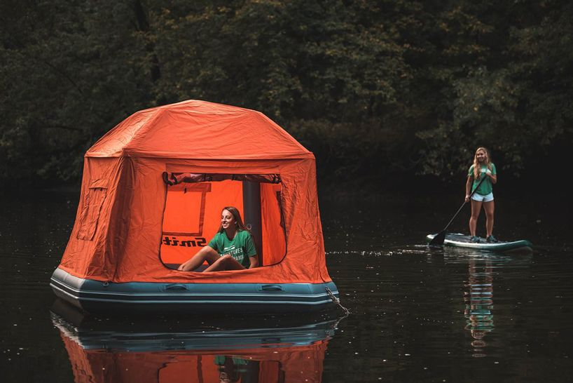 smithfly's shoal kit is the world's first inflatable floating raft tent