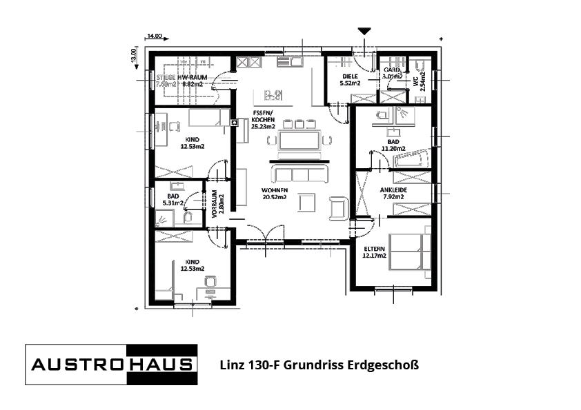 Grundriss Linz 130 EG ETZI-HAUS AUSTROHAUS ZIEGEL FERTIGHAUS MASSIVHAUS ZIEGELHAUS ARCHITEKTUR