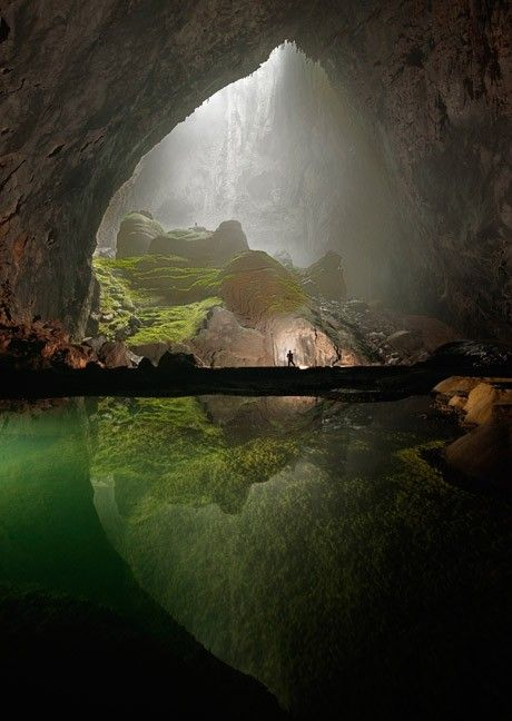 "Previous pinner: ""Big cave; framing by nature..."" Me: ""Hang Son Doong is a cave in central Vietnam which was [ found by a local man named Hồ-Khanh in 1991and] recently [re]discovered in 2009 by British cavers. The name Hang Son Doong means 'mountain river cave.' It was created 2-5 million years ago by river water eroding away the limestone underneath the mountain."" More: http://en.wikipedia.org/wiki/Son_Doong_Cave"