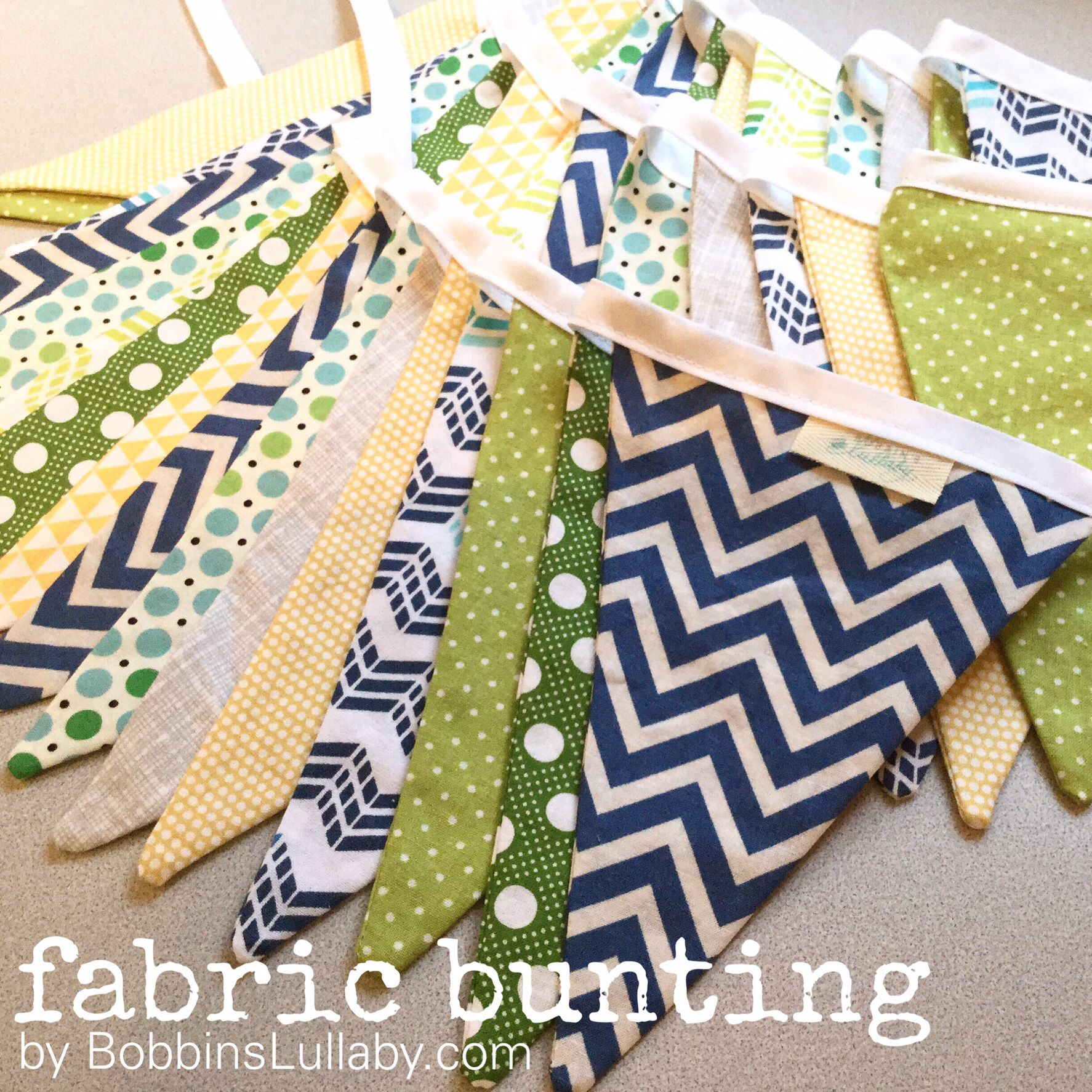 Playful fabric banners // pennant banners // fabric bunting // Eco-friendly party decor  By Bobbin's Lullaby