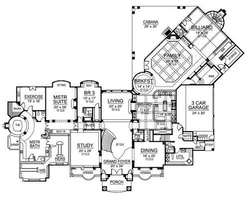 First Floor Image Of Versailles Luxury House Plans House Plans Mountain House Plans
