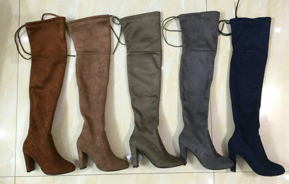 9837da301 Black Gray Womens Micro Suede Thigh High Boots Block Thick Heel Stretch Over  the Knee Boots for Woman Plus Size Wine Nude Beige