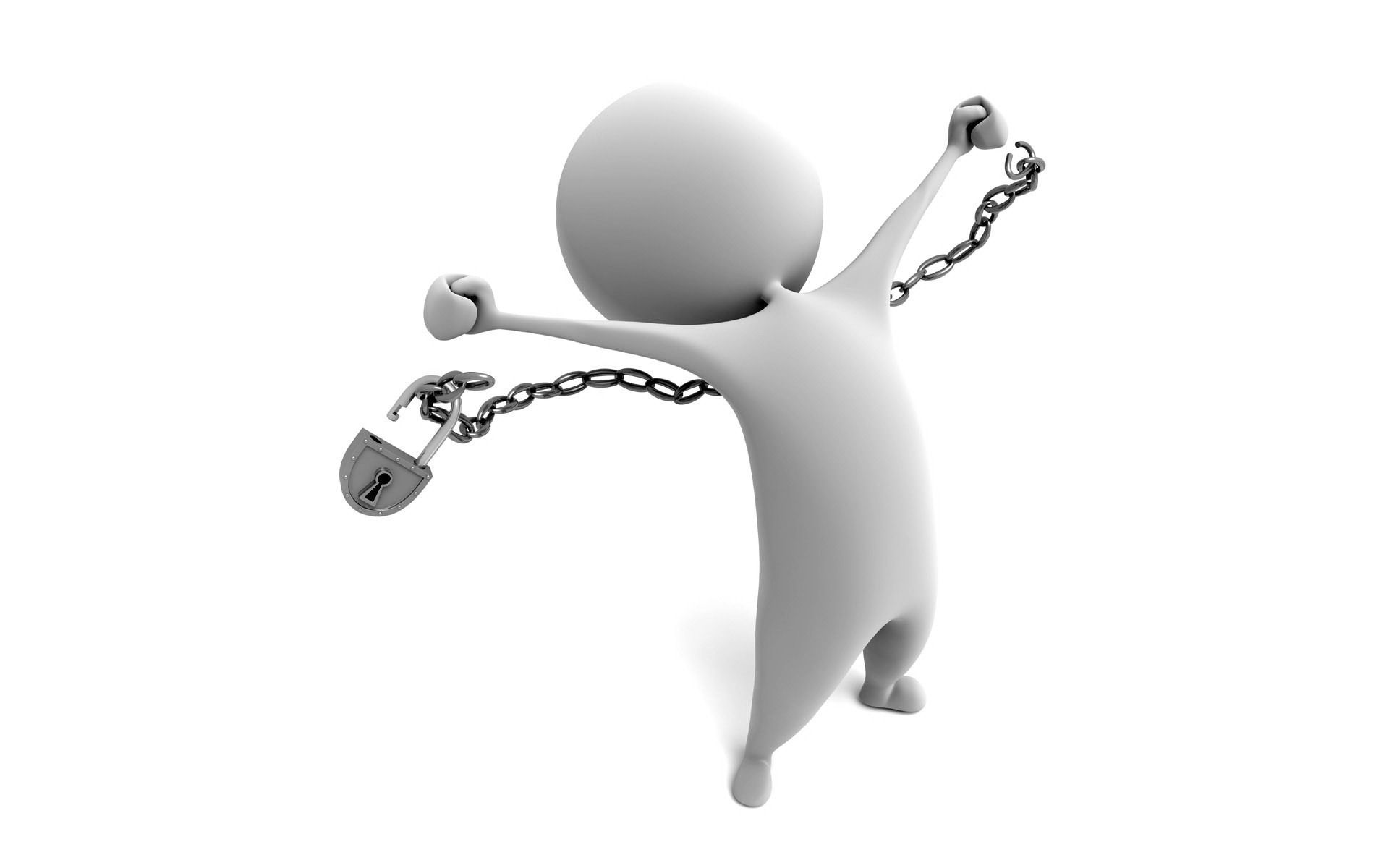 Faceless White Cartoon Man Breaking Free Of Chain Stuff