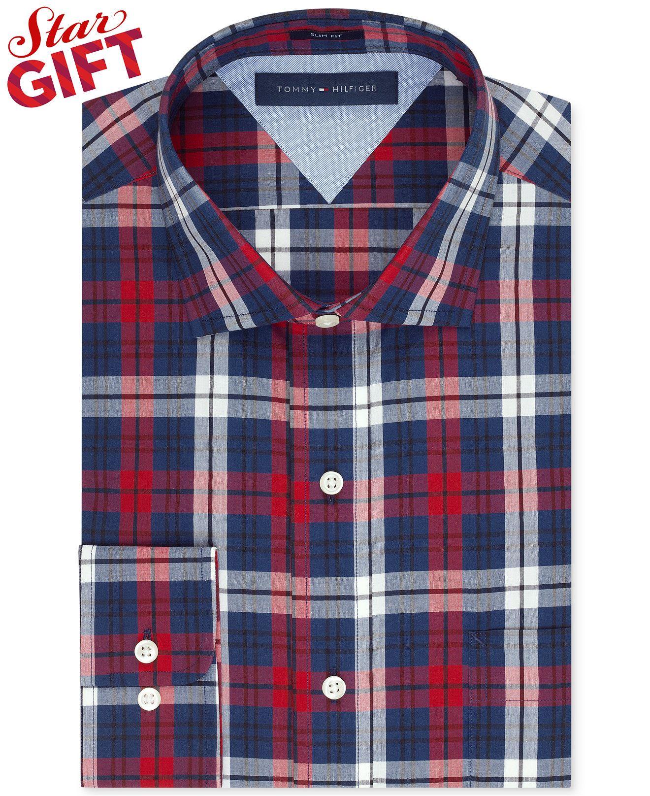 6b98f28ecac9c Tommy Hilfiger Slim-Fit Red and Blue Plaid Dress Shirt - Dress Shirts - Men  - Macy s  35
