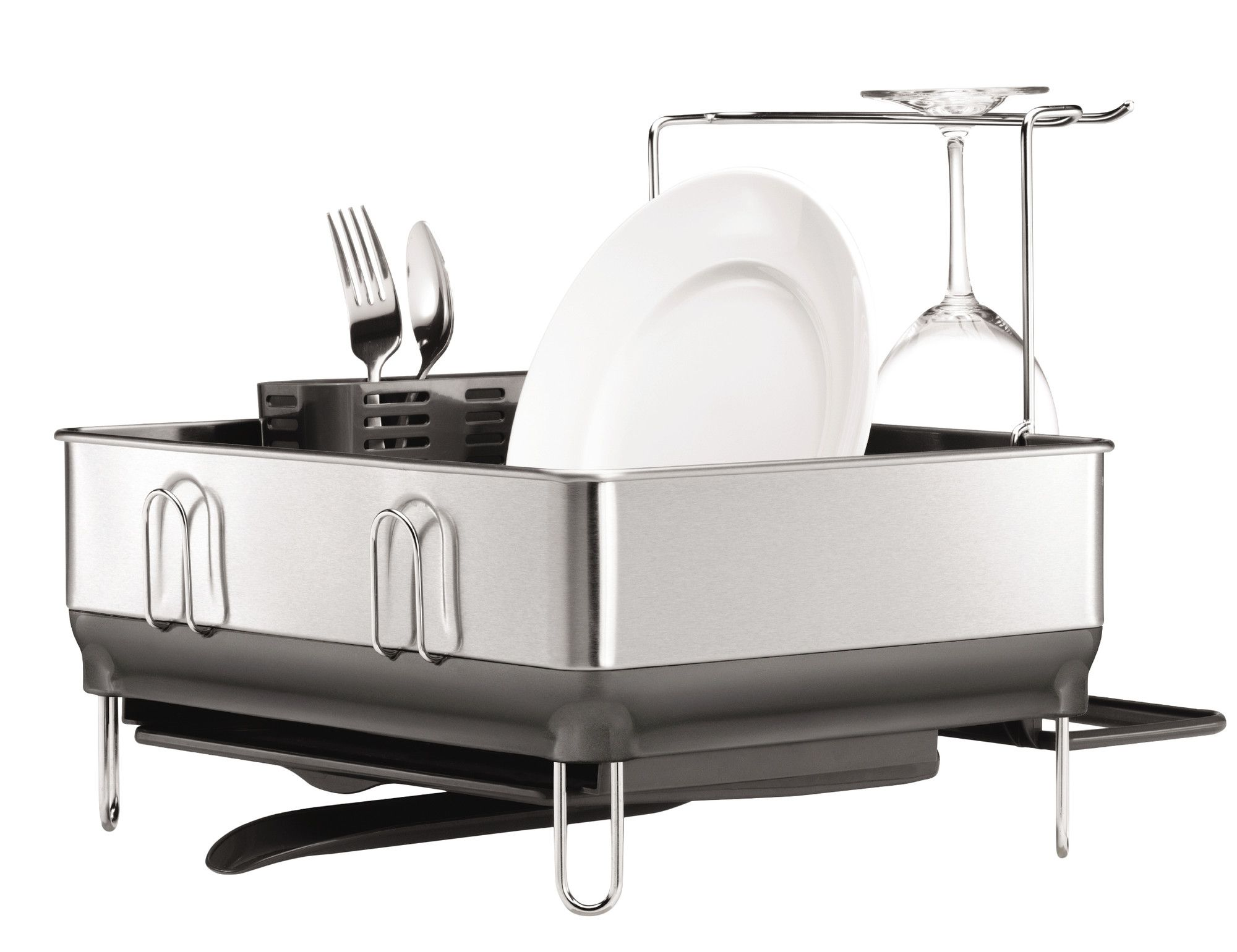 pact Stainless Steel Frame Fingerprint Proof Brushed Dish Rack