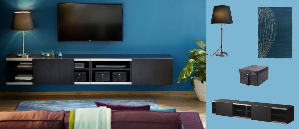 Best aufbewahrungskombination zur wandmontage mit schiebet ren schwarzbraun ikea wohnzimmer - Besta wandmontage ...