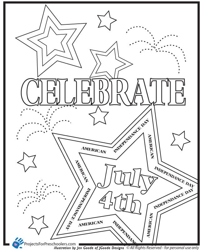 fourth of july usa coloring pages for preschool kindergarten and elementary school children - 4th Of July Coloring Pages