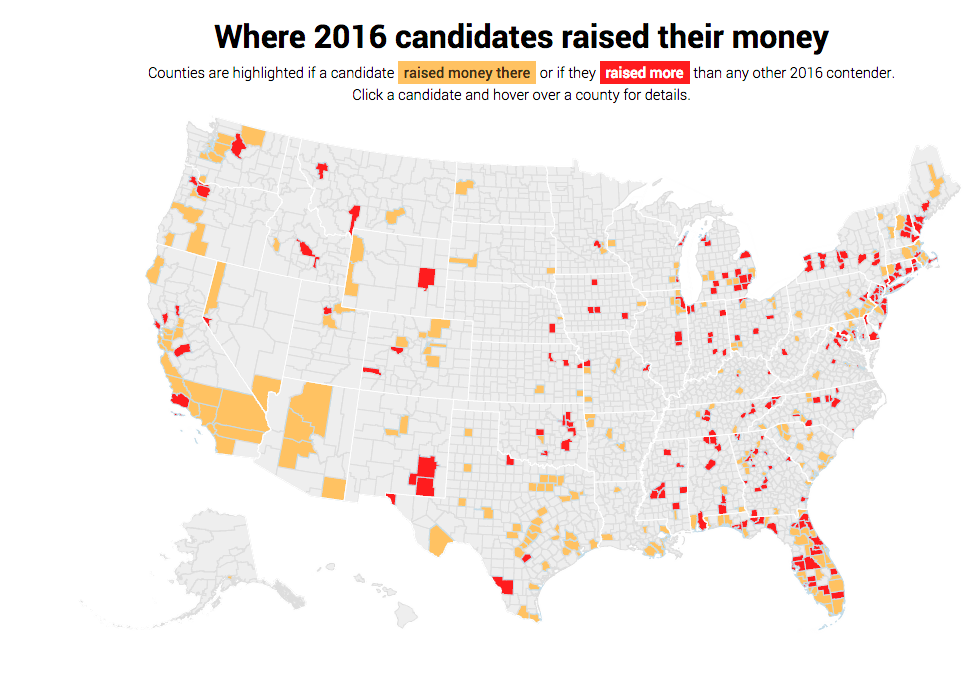 Use our interactive map to find out where the 2016 candidates raised