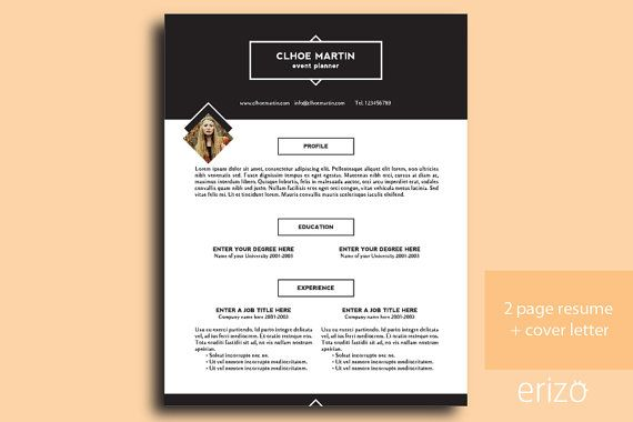 CV Resume Template + Cover Letter 3 pages Editable DIY Curriculum