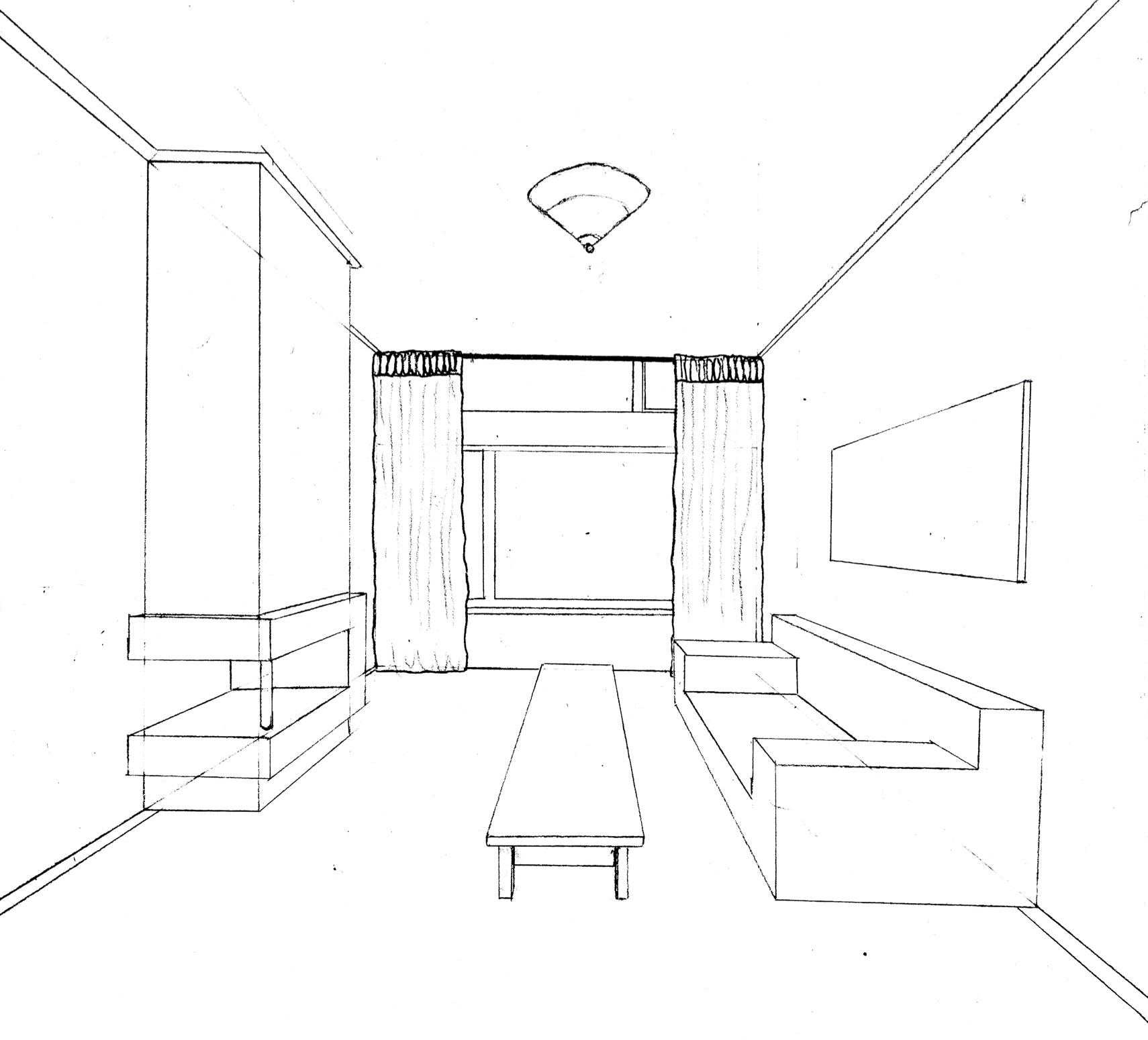 1 puntsperspectief ruimte pinterest idee n for Kamer 3d tekenen