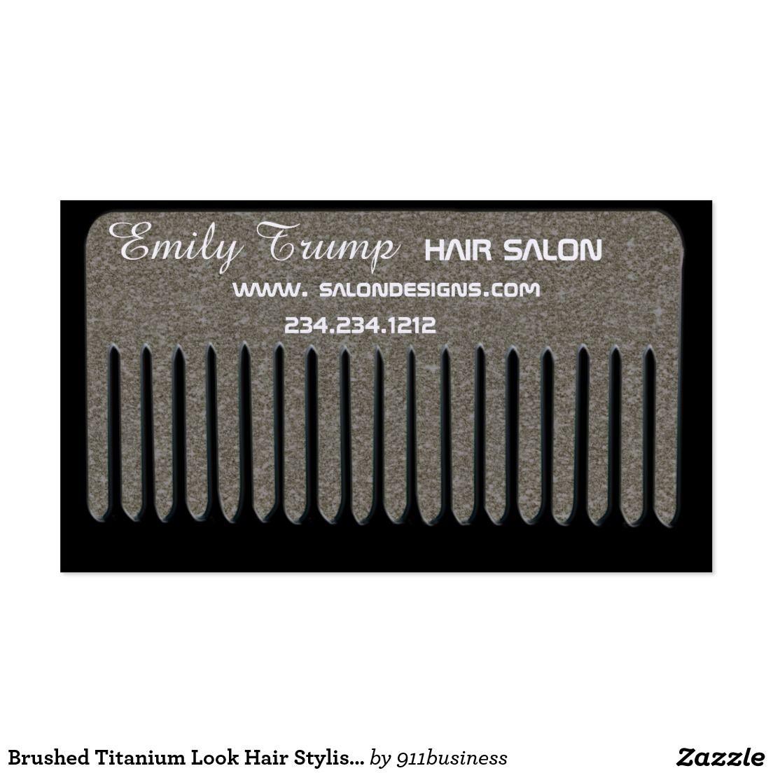 Brushed titanium look hair stylist vintage comb business card brushed titanium look hair stylist vintage comb business card colourmoves