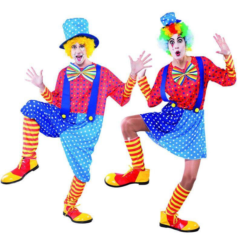 disfraz de pareja de payasos azules hombre y mujer