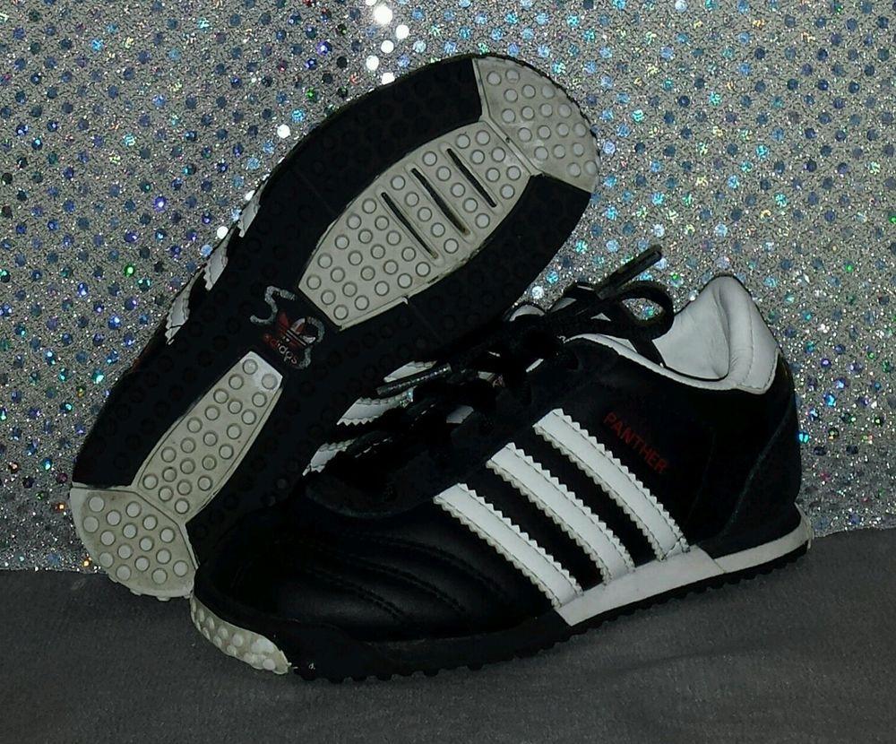 f1ae9635283 adidas Originals Toddler Boys Panther Shoe Leather Black White Size 8K VGUC   adidas  Athletic