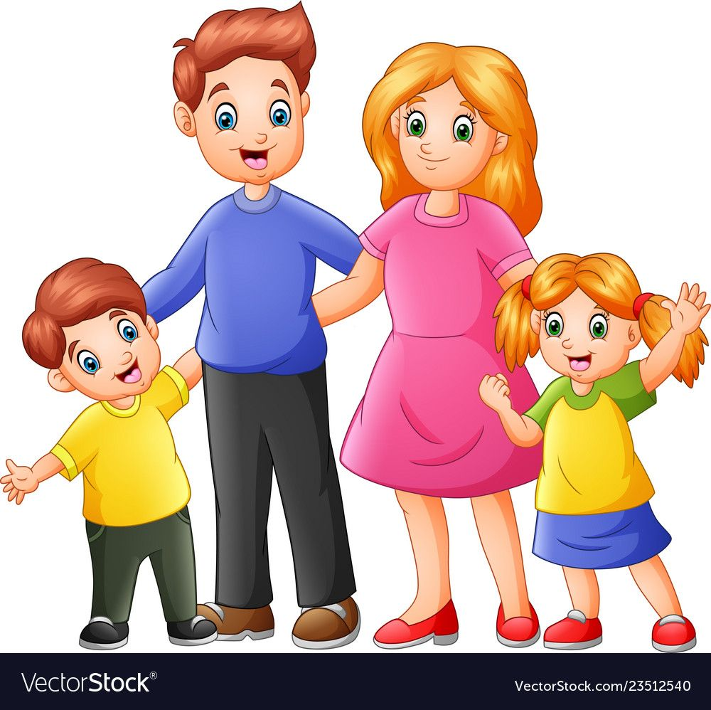 Happy Family Cartoon Vector Image On Vectorstock Family Cartoon Family Sketch Addams Family Cartoon
