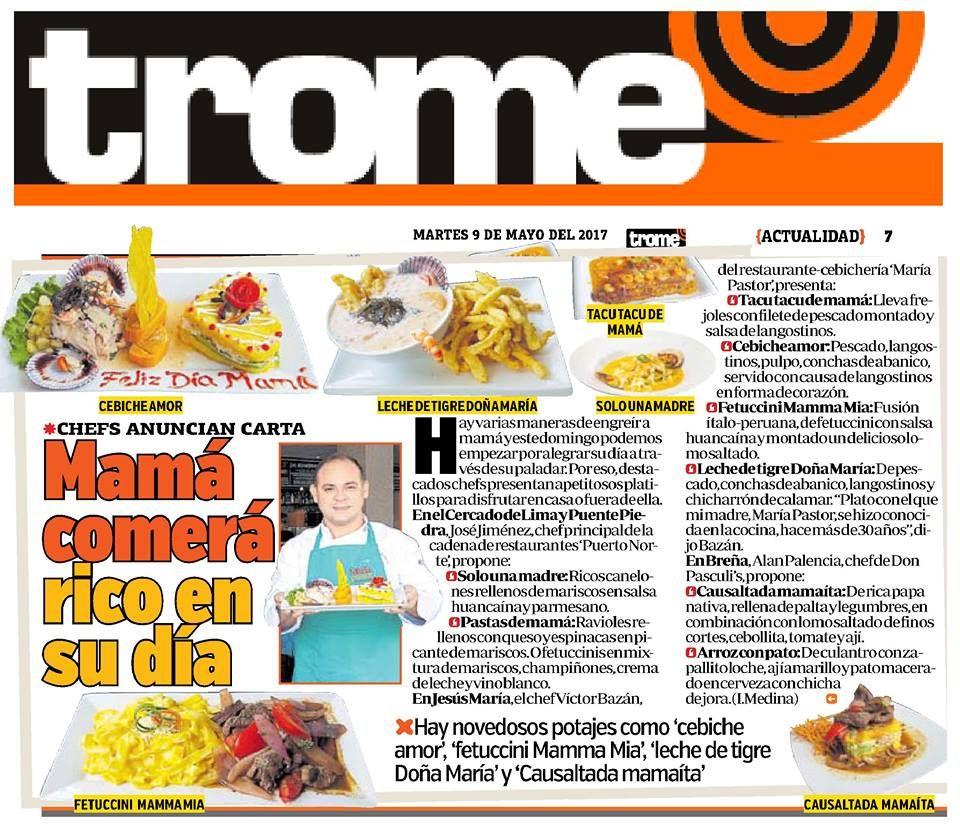 Nota de prensa en el diario Trome para nuestro cliente la cadena de restaurantes Puerto Norte.
