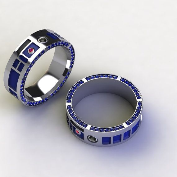Bien-aimé Men's Droid Head Band R2D2 Sapphire Ring Back by PaulMichaelDesign  EN25