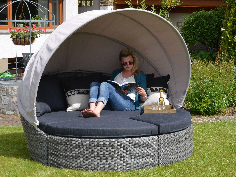 Ruheinsel Fur Den Garten Runde Loungegruppe Mit Sonnendach Lounge Loungeinsel Lounge Mobel