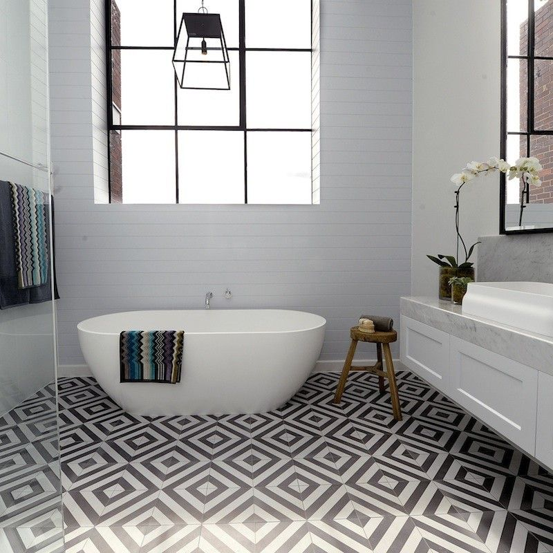 Love the combo of very plain walls and feature black and white tile on floor. Too busy? Darren & Deanne   Room 2   Bathroom   The Block Shop - Channel 9