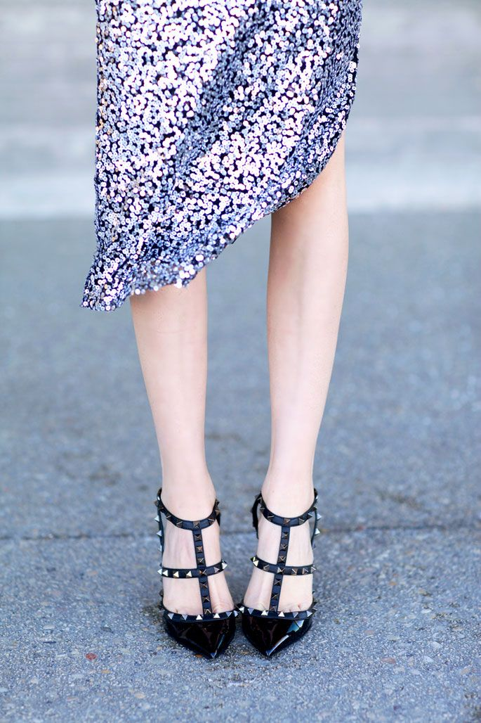 Silver sequin skirt and black rock stud Valentinos...