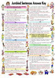 English Worksheet Jumbled Sentences Answer Key Meaningful Sentences Jumbled Words Sentences