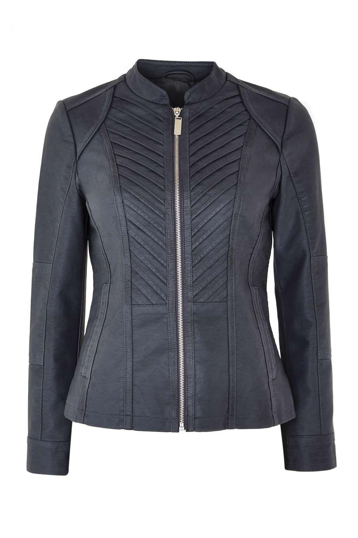 Petite Grey Faux Leather Biker Jacket Jackets, Fashion