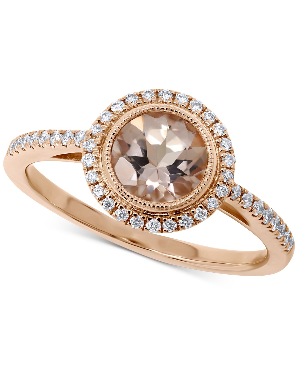 Morganite 7 8 Ct T W Diamond 1 5 Ct T W Halo Ring In 14k