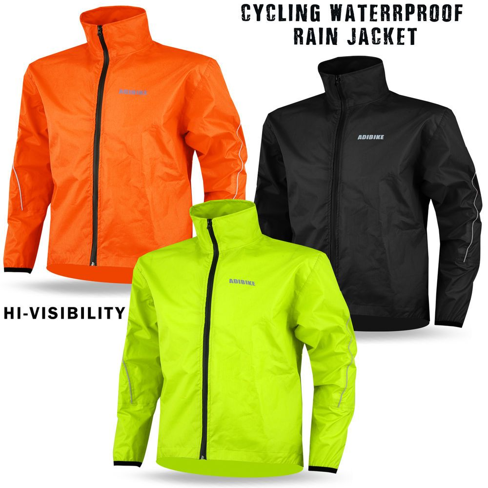 Mens Cycling Rain Jacket Waterproof High Visibility Running Top ...