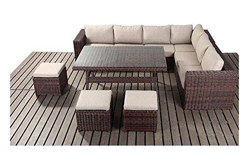 Gartenmöbel, Garten, Windsor Tisch, Garten Set In Braun Und Beige Rattan  Aff Link