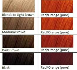 Color Chart RedOrange  My Style    Henna Hair Dyes