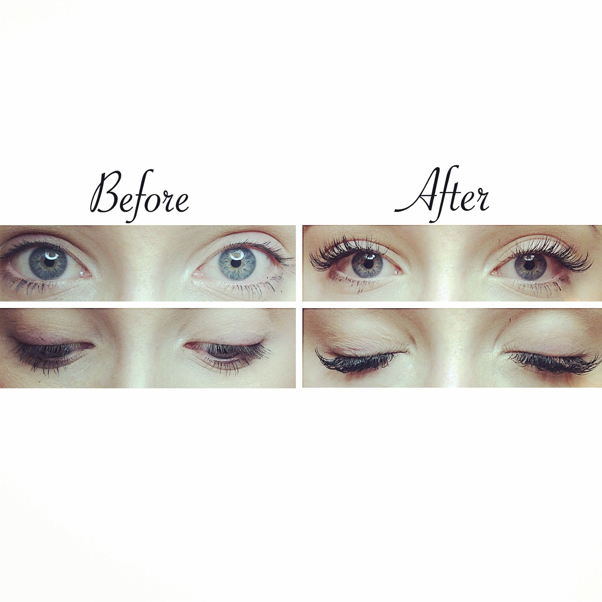 Before and after of a set dramatic eyelash extensions done ...
