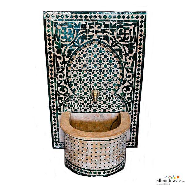 Fuente de agua mosaico verde decoracion arabe - Fuentes de agua decoracion ...