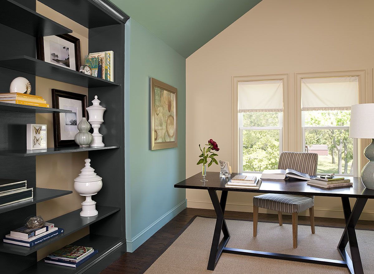 Awesome Home Office Hideaway   Azores AF 495 (accent Wall), Amulet AF 365 (walls),  Wrought Iron 2124 10 (bookshelf)