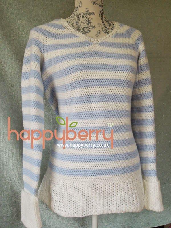 Happy Berry Crochet: Ladies Stripey Sweater Crochet Pattern to fit ...