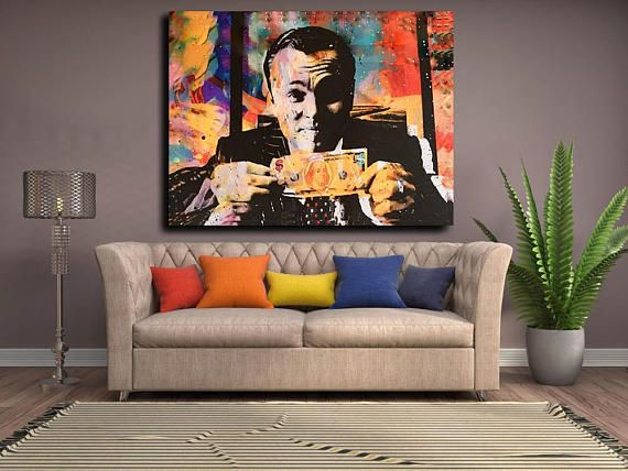 This high quality abstract canvas wall art money talks wolf of wall street canvas will be