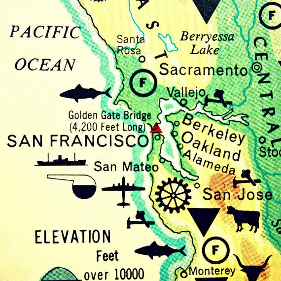 Map Photography San Francisco California By Vintagebeachmaps 4400