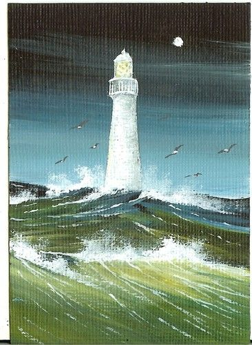 ACEO Original Acrylic Stormy Waters Light House Gulls Swooping Deep Sea Hymes   eBay