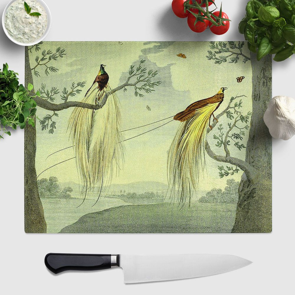 Bon 1 X Large Glass Chopping Board Vintage Charles R Ryley Great Paradise Bird