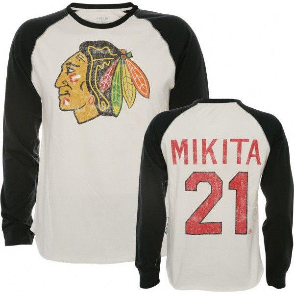 1b7557650 Stan Mikita Old Time Hockey Winfield Long Sleeve Raglan Jersey Chicago  Blackhawks T-Shirt