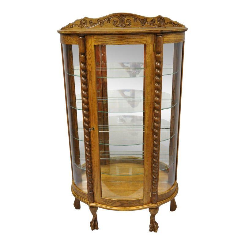 Golden Oak Kitchen Cabinets: 20th Century Victorian Golden Oak Bow Front Display