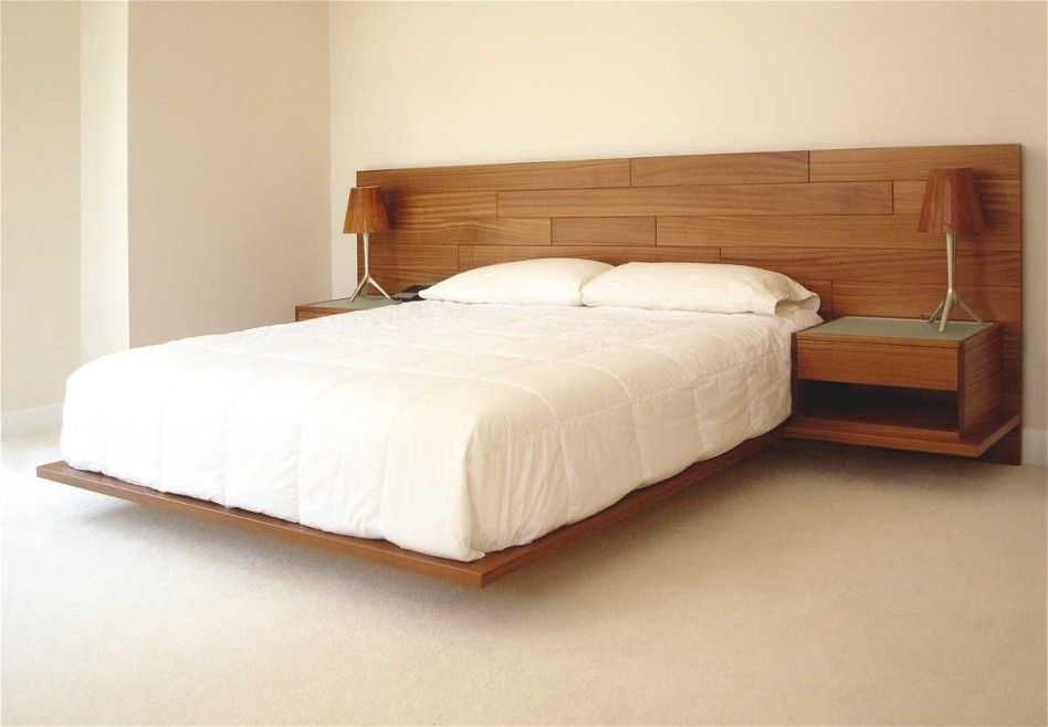Superb Bedroom, : Incredible Image Of Simple Bedroom Decoration Using Floating Oak  Wood Platform Bed Frame Including Rectangular Solid Light Oak Wood Headboard  And ...