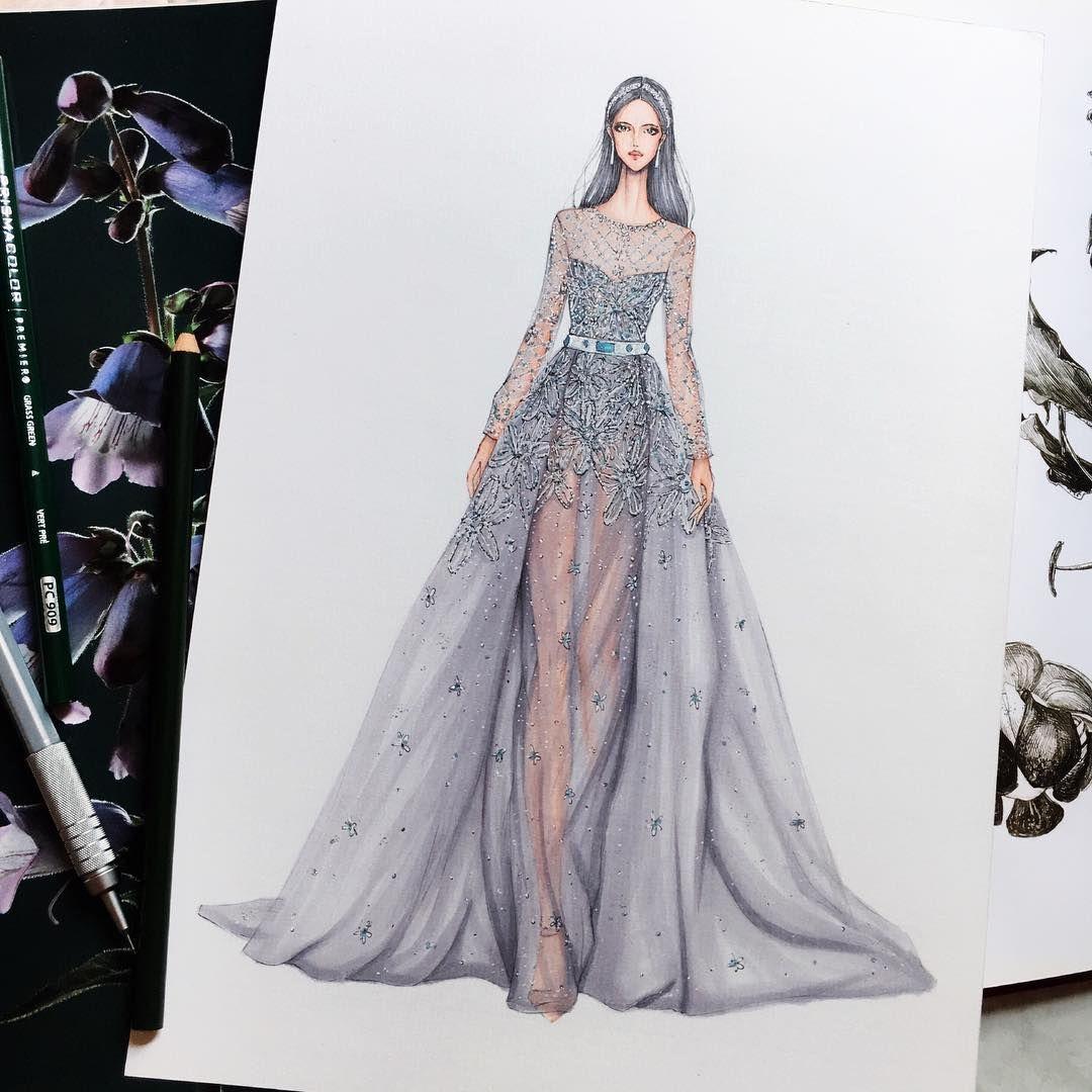 Eris Tran Watercolor Illustration Of Elie Saab Haute Couture Spring Summer 2017 Fashion Illustration Dresses Fashion Drawing Dresses Fashion Design