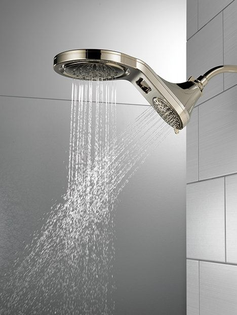 This Shower Head From Delta Offers A Pause Function Plus 6 Options For Flow Including A Rain Can Without P Bathroom Shower Heads Shower Heads Shower Design
